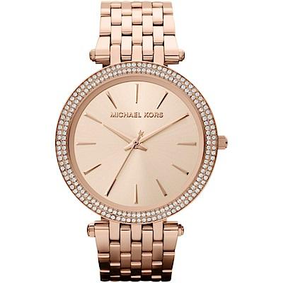 MICHAEL KORS時尚紐約風玫瑰金腕錶/MK3192