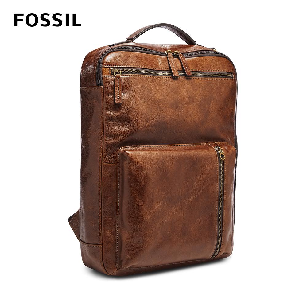 FOSSIL BUCKNER 三用真皮電腦後背包-棕色 MBG9461222