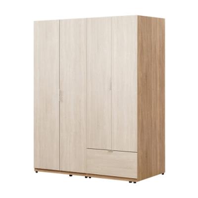 文創集 莎吉亞5尺開門衣櫃/收納櫃(吊衣桿+單抽屜+內開放層格)-150x60x197免組