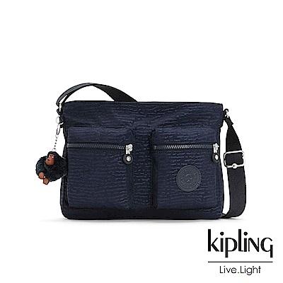 Kipling 文青靛藍紋路側背包-CORALIE