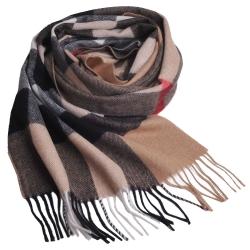 經典大方格紋喀什米爾羊毛披肩/圍巾(駝色/大)