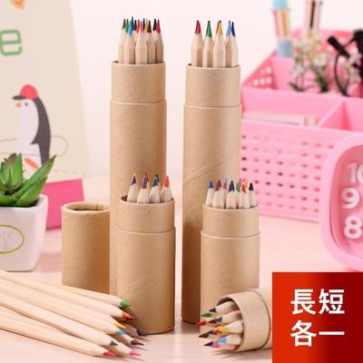 芬菲文創 12色原木色桶裝彩色鉛筆 六角桿環保色彩筆-長款1組+短款1組