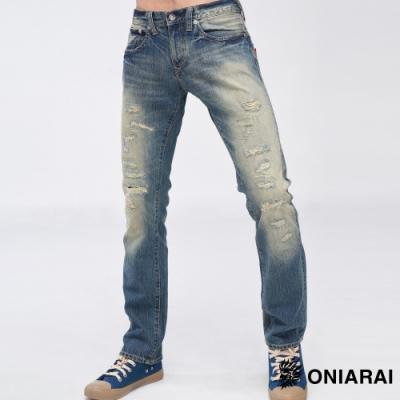鬼洗BLUE WAY -繡線袋花低腰直筒褲