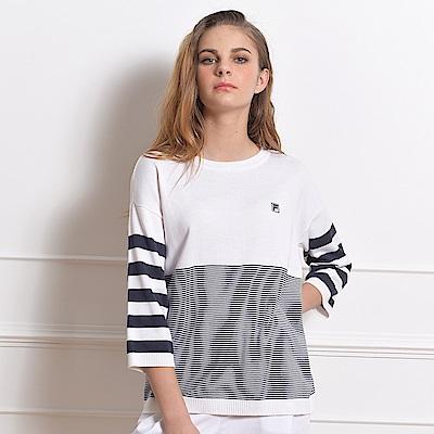 FILA 女款七分袖線衫-白 5SWS-5707-WT