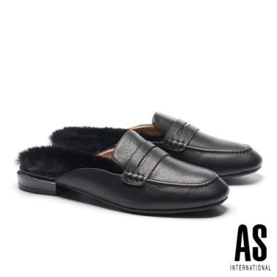 穆勒鞋 AS 復古時尚純色毛毛造型方頭穆勒拖鞋-黑