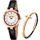 Folli Follie BUBBLE 優雅城市女仕套組-銀x黑色錶帶