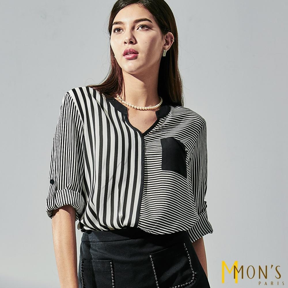 MONS 絲滑棉料條紋拼接上衣/襯衫