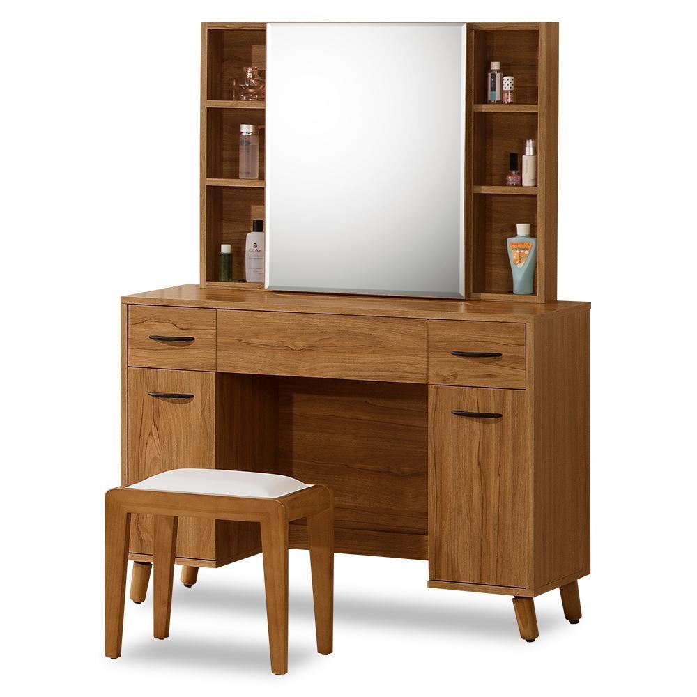 時尚屋  柏得溫柚木3.3尺鏡台-含椅子寬100x深40x高142.7cm