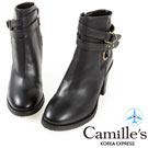 Camille's 韓國空運-繞帶釦環拉鏈粗跟靴-黑色