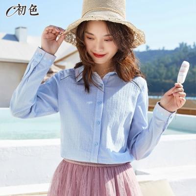 初色  刺繡休閒襯衫-淺藍色-(M-2XL可選)