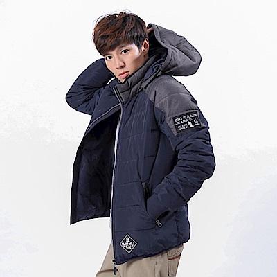 BIG TRAIN 斜紋配布絲棉外套-男-深藍