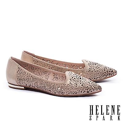 低跟鞋 HELENE SPARK 奢華自信晶鑽設計沖孔尖頭低跟鞋-杏