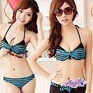 泳衣 輕夏落日 鋼圈三件式比基尼泳裝(藍XL) AngelHoney天使霓裳