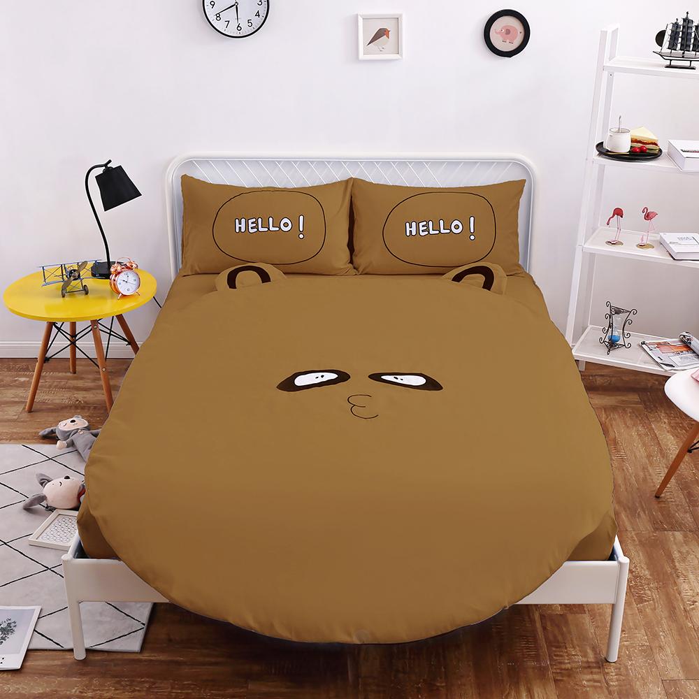 HUEI生活提案 柔絲絨圓形被套床包五件組 加大含被芯 狸貓咖