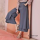 OUWEY歐薇 垂墜風修身活片造型寬褲(藍)