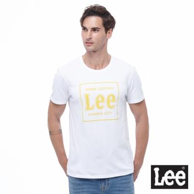 Lee 短T 黃色大Logo方框 男 白