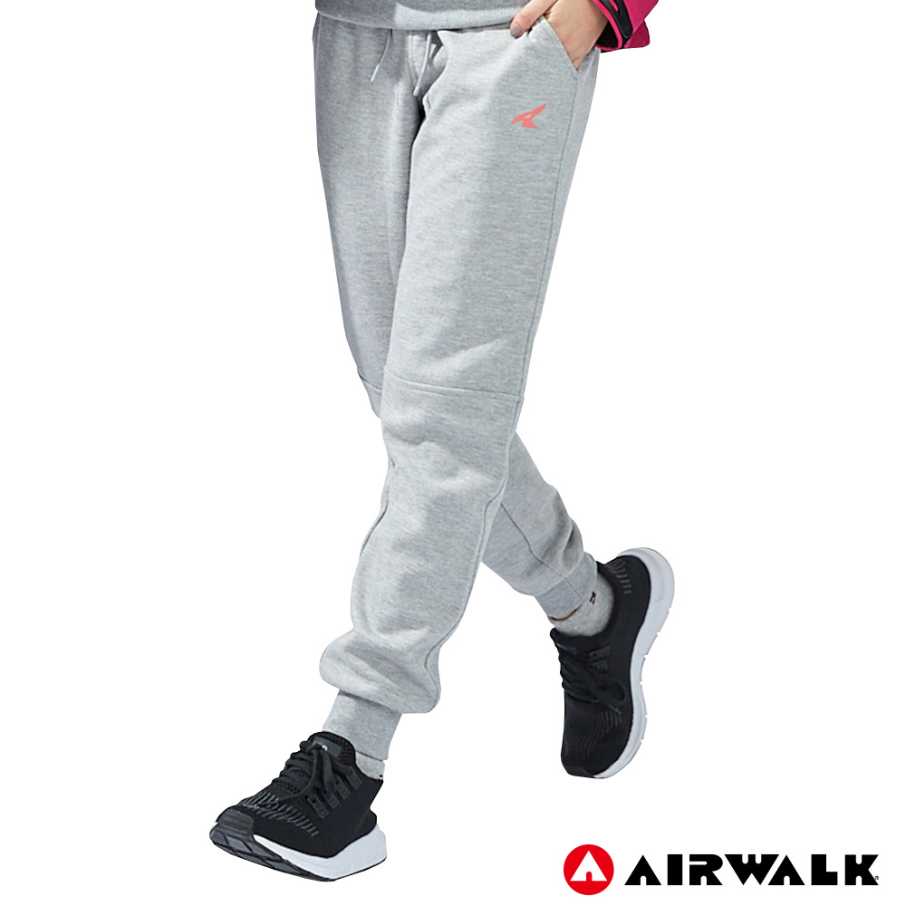 【AIRWALK】女款運動剪接長褲-麻灰