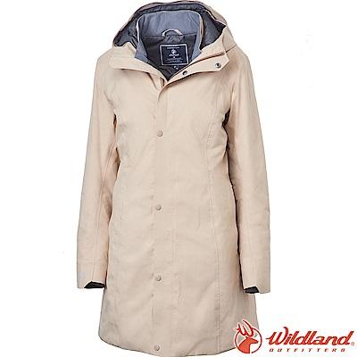 Wildland 荒野 0A62901-82卡其色 女長版PR棉輕量防水外套