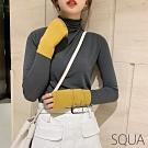 SQUA 高領撞色袖不收邊上衣-二色-F