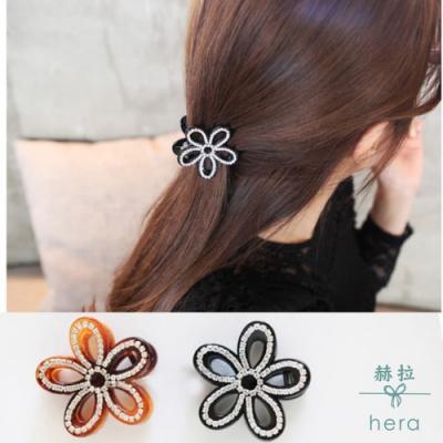 Hera 赫拉 -立體鏤空花朵水鑽髮夾/抓夾