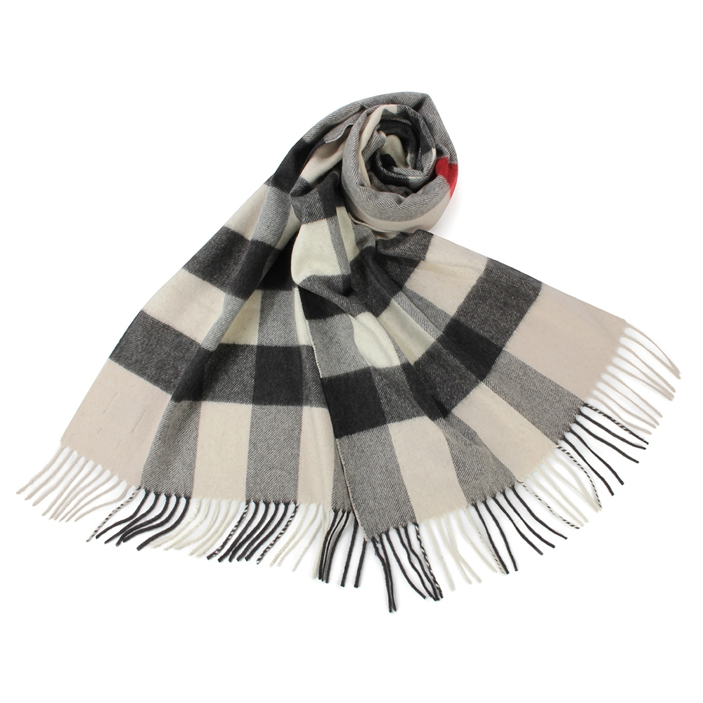 BURBERRY 經典方格紋100%喀什米爾羊毛圍巾(200X36cm)-大/石色