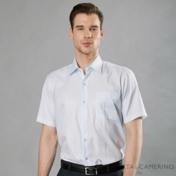 ROBERTA諾貝達 台灣製 職場型男 緹花條紋短袖襯衫 淺藍