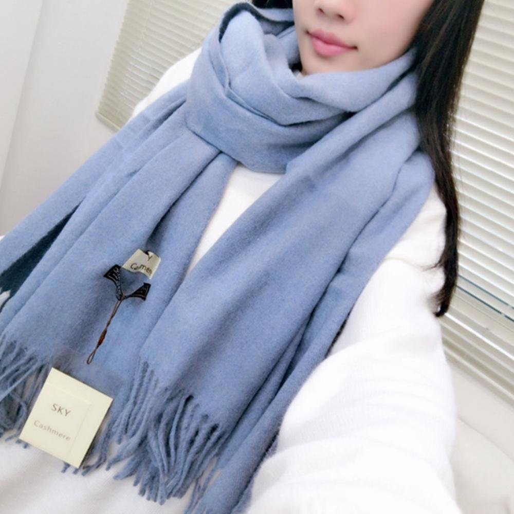 梨花HaNA 冬日極暖手感黃金絨SKY純色系列圍巾-天藍