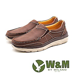 W&M (男)素面皮革休閒鞋-咖(另有棕)
