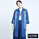EDO KATSU江戶勝 洋裝式 七分袖牛仔襯衫-女-石洗藍