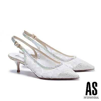 高跟鞋 AS 浪漫蕾絲網布繫帶造型尖頭高跟鞋-米
