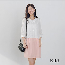 【KiKi】上班族必備假兩件式-洋裝(共二色)
