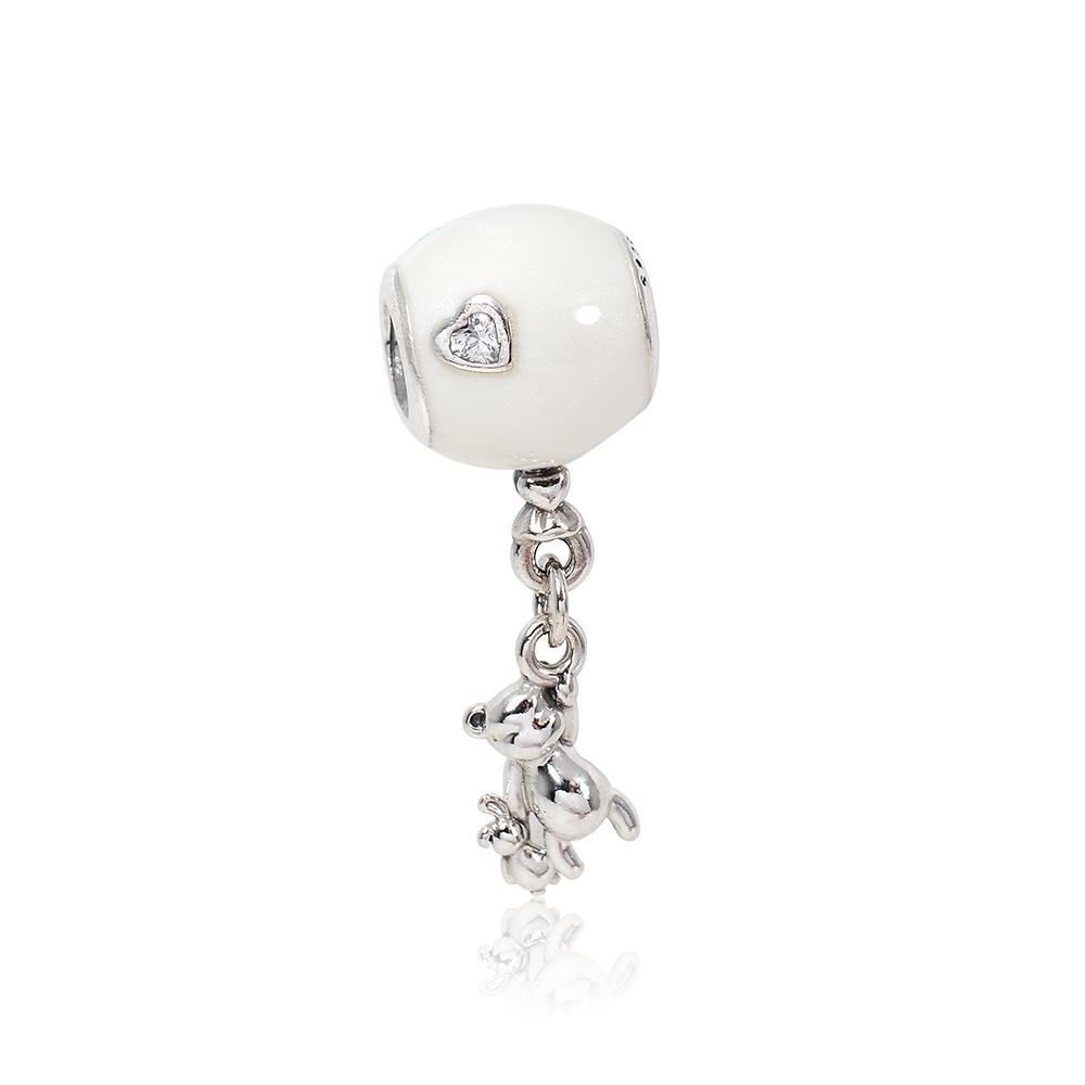 Pandora 潘朵拉 白色氣球泰迪熊鑲鋯 垂墜純銀墜飾 串珠