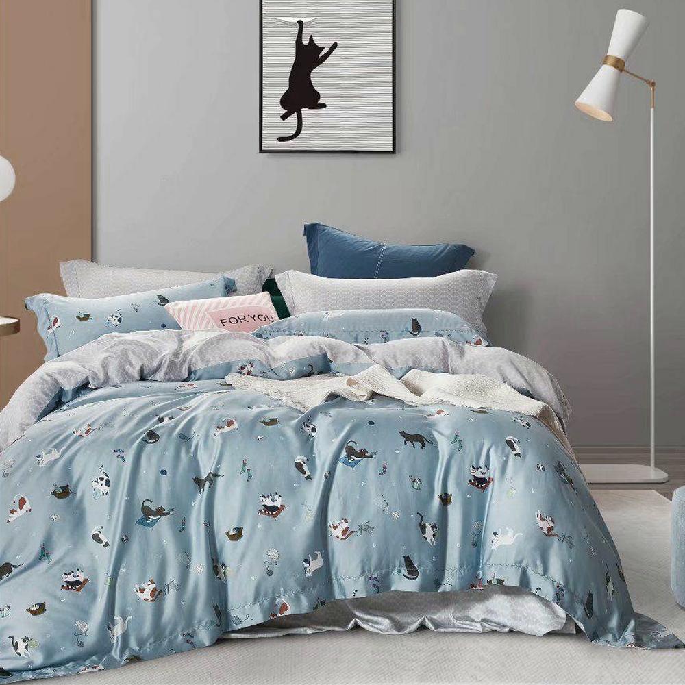 LAMINA 快樂時光-藍 加大 100%萊賽爾天絲枕套床包組