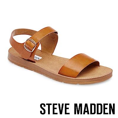 STEVE MADDEN-PROBABLE-金屬扣平底涼鞋-棕色