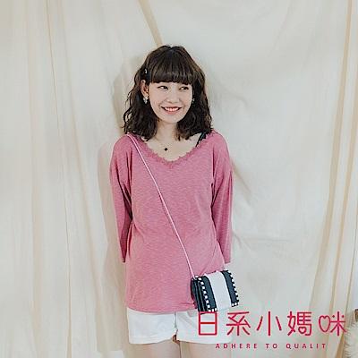 日系小媽咪孕婦裝-正韓孕婦裝~線條感後蕾絲交叉上衣