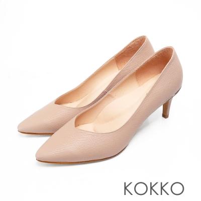 KOKKO經典尖頭壓紋羊皮金屬環高跟鞋優雅裸