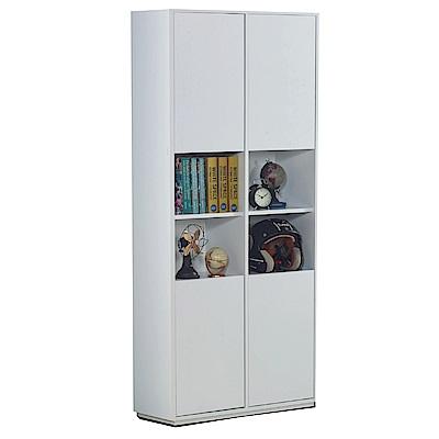 文創集 蘇菲亞現代白2.7尺四門書櫃/收納櫃-80x30x185cm免組