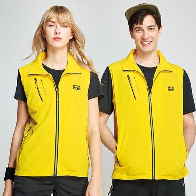 【Londa POLO】單面網裡中性版薄背心(P208406)黃色+國旗藍網裡