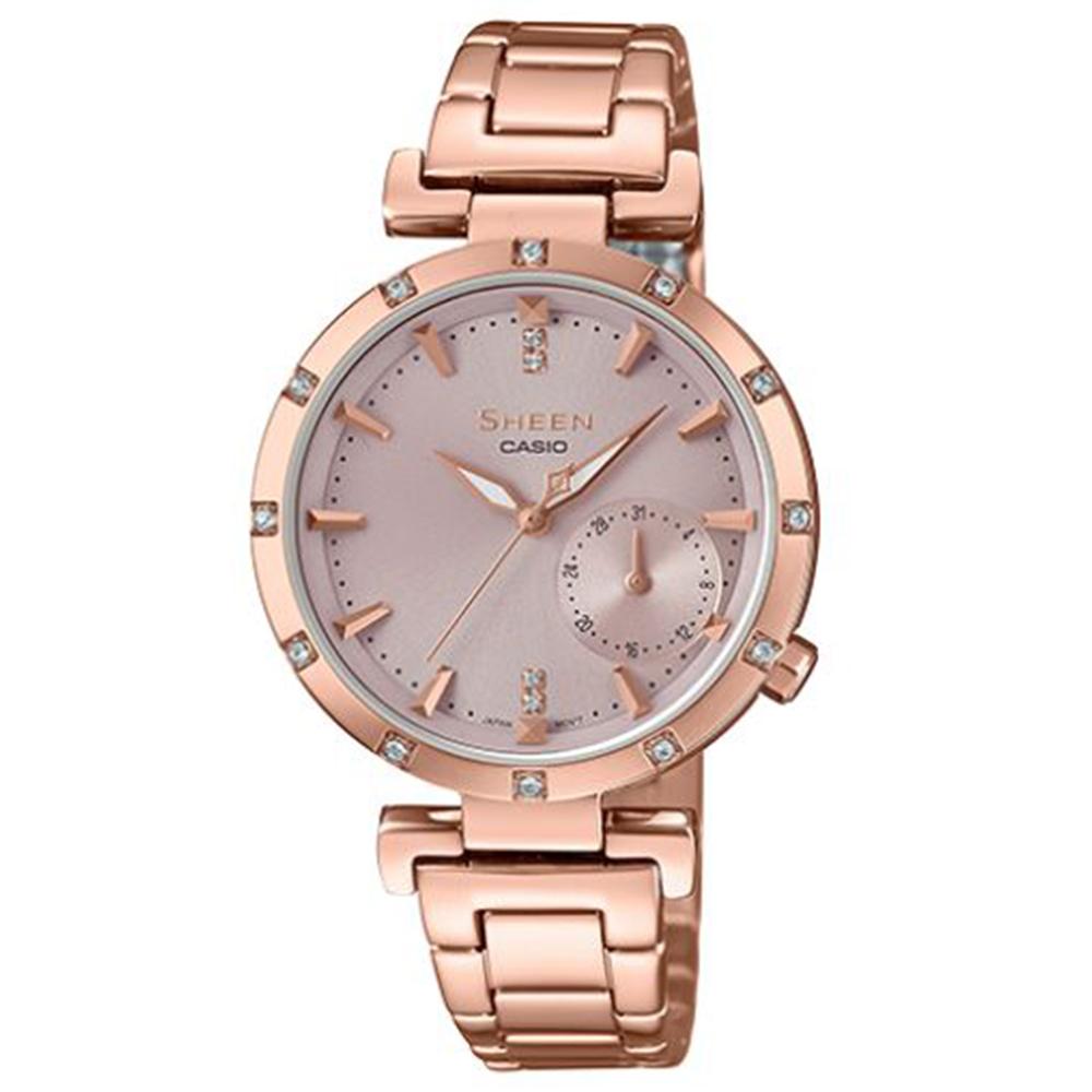SHEEN優雅智慧簡約耀眼施華洛世奇指針腕錶(SHE-4051PG-4)蜜桃金32mm @ Y!購物