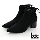 【bac】中性時尚尖頭閃耀彈力布圓錐粗跟短靴-黑