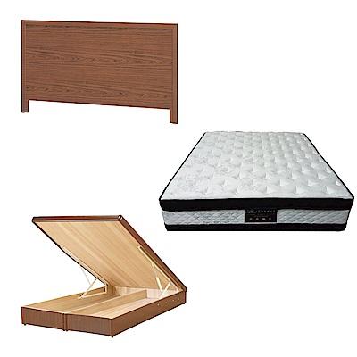 綠活居 梅可6尺雙人加大床台三式組合(床頭片+後掀床底+正四線涼感獨立筒)五色可選