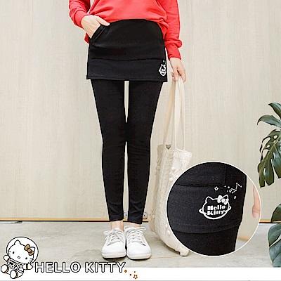太空KITTY面磨毛口袋造型假兩件內搭褲-OB大尺碼