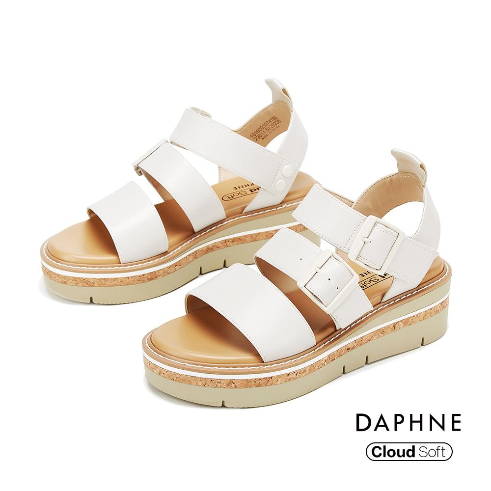 達芙妮DAPHNE 涼鞋-休閒寬版舒適厚底羅馬涼鞋-米白