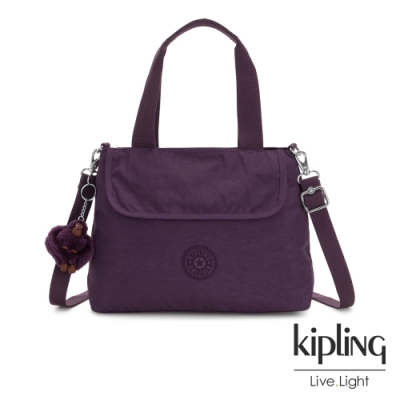 Kipling 低調奢華深紫色前翻蓋手提側背包-ENORA