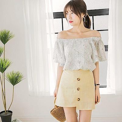 質感純色後腰鬆緊排釦造型不規則裙襬格紋布短裙.2色-OB大尺碼