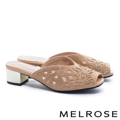 拖鞋 MELROSE 氣質時尚晶鑽幾何鏤空魚口高跟拖鞋-米