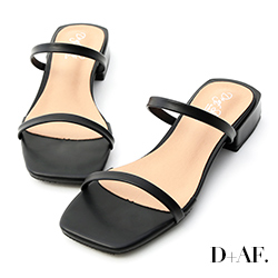 D+AF 簡約印象.一字雙帶方頭涼拖鞋*黑
