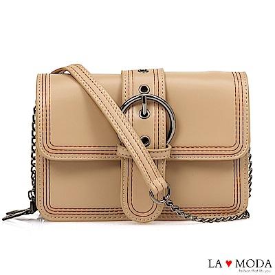 La Moda 質感經典熱銷大釦百搭鍊條方包(杏色)