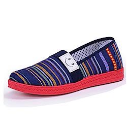韓國KW美鞋館 繽粉舒適橫紋懶人鞋-藍色