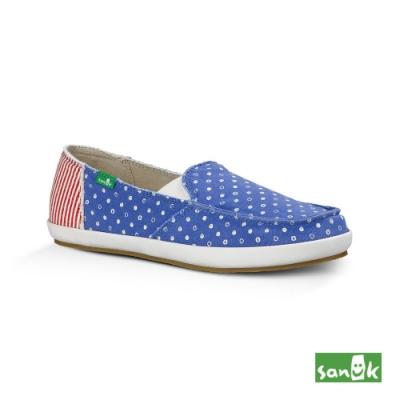 SANUK 女款 US7 愛國者系列懶人鞋(紅藍色)